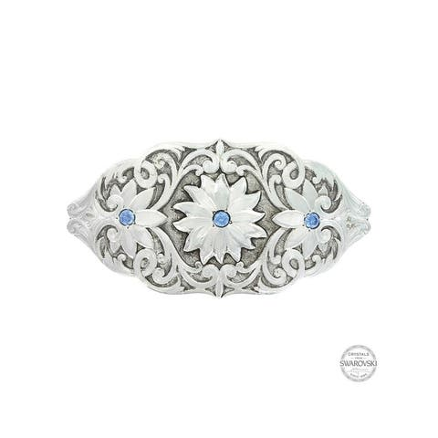 Montana Silversmiths Barrette Womens Bitterroot Flower - Silver Blue - One Size
