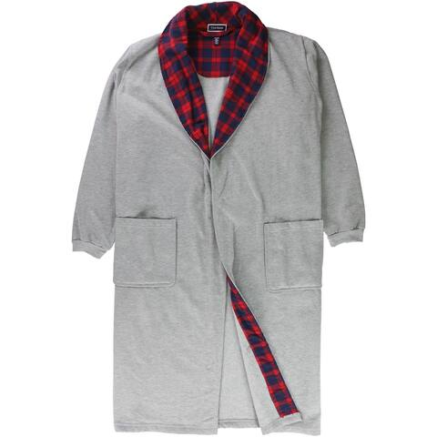 Club Room Mens Plaid Collar Non Belted Robe, grey, One Size - One Size