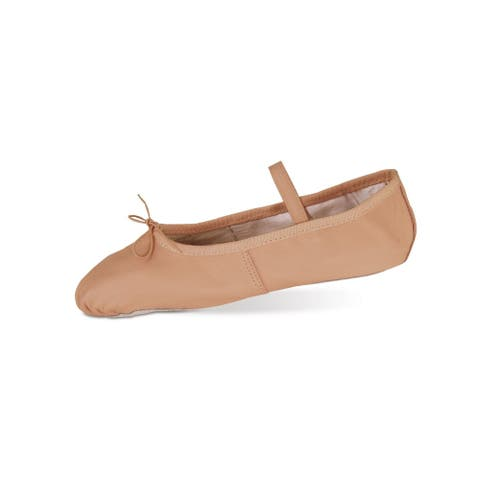 Danshuz Girls Pink Deluxe Leather Pleated Toe Ballet Shoes