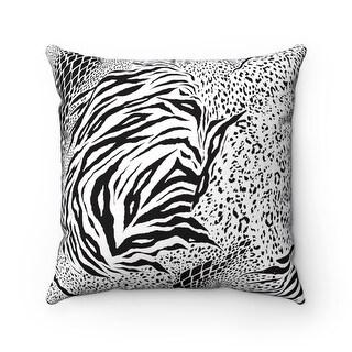 Animal Zebra Print Safari Reversible Throw Pillow Cover, Black & White