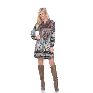 6370-01 L Phebe Embroidered Sweater Dress, Brown - Large
