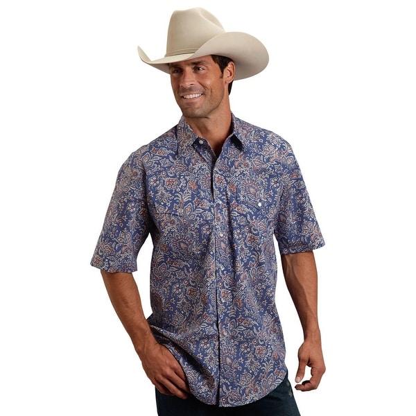 Stetson Western Shirt Mens L/S Paisley Snap Blue 11-002-0425-0446 BU