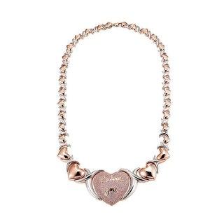 Heart Link Women Necklace XOXO Hugs Kisses Rose Gold Tone Pink Lab Diamond - Rose Gold
