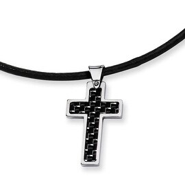 Chisel Stainless Steel Carbon Fiber Cross Pendant (3 mm) - 18 in