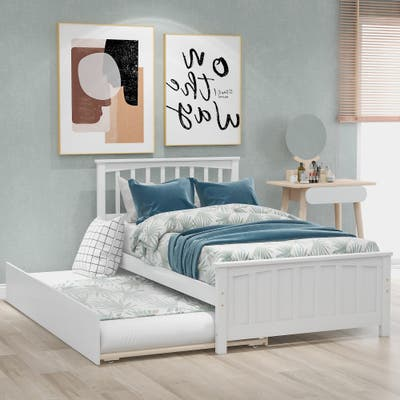 Nestfair Twin Size Platform Bed with Trundle