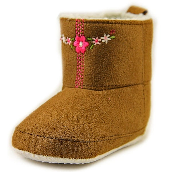 Luvable Friends Embroidered Baby Boots Infant Square Toe Suede Brown Bootie