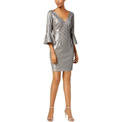 Adrianna Papell Womens Cocktail Dress Bell Sleeve Sequined