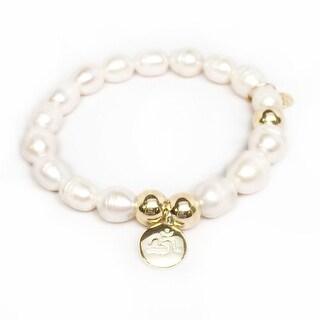 """Freshwater Pearl Om Charm 7"""" Bracelet"""