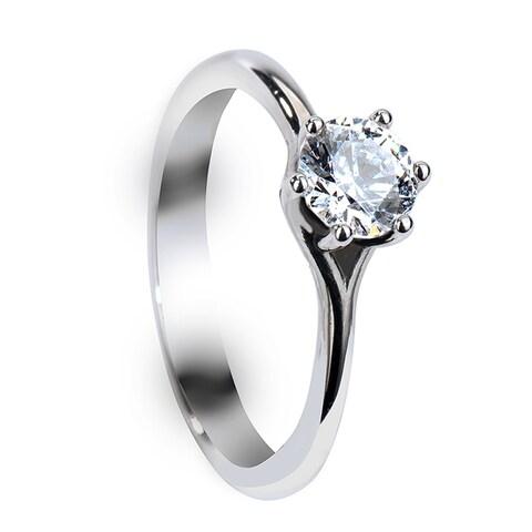 Six Prong Round Solitaire Palladium Engagement Ring with Polished Finish - MADE WITH Swarovski elements ELEME