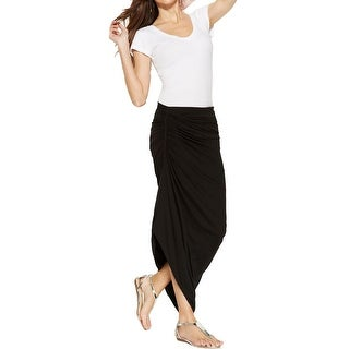 Studio M Womens Maxi Skirt Ruched Asymmetric