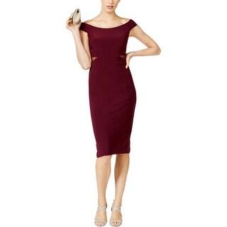 Xscape Womens Petites Bodycon Dress Off the Shoulder Bodycon