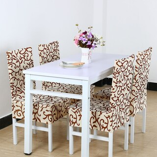 Unique Bargains Stretch Dining Chair Cover (Option: champagne + coffee)