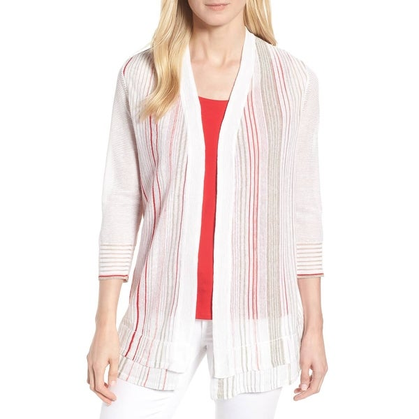 Nic + Zoe White Women's Size Large L Striped Cardigan Sweater