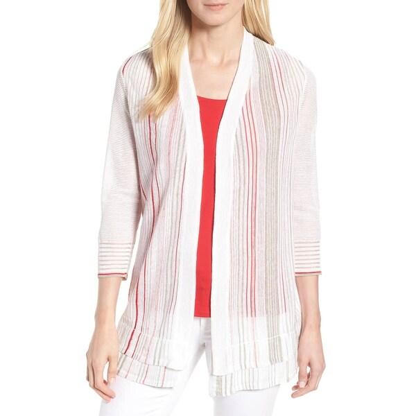Nic + Zoe White Women's Size Medium M Striped Cardigan Sweater