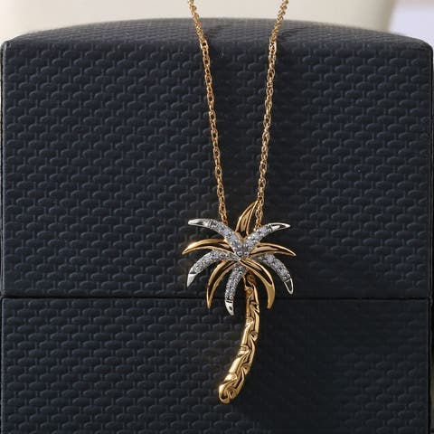 1/20ct TDW Diamond Palm Tree Pendant Necklace in Silver