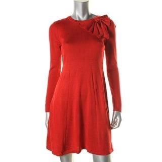 Jessica Howard Womens Petites Knit Ribbed Trim Sweaterdress