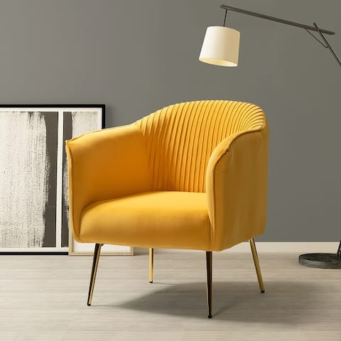Belicia Upholstered Barrel Chair with Golden Base