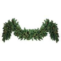 """9' x 14"""" Pre-Lit Olympia Pine Artificial Christmas Garland - Warm White LED Lights"""