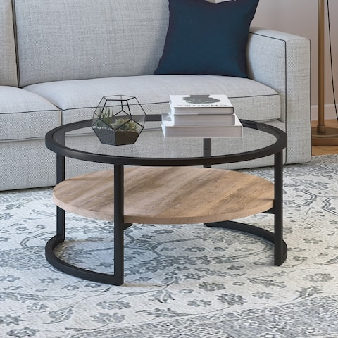 Carbon Loft Mornie Round Coffee Table in Blackened Bronze with Limed Oak Shelf