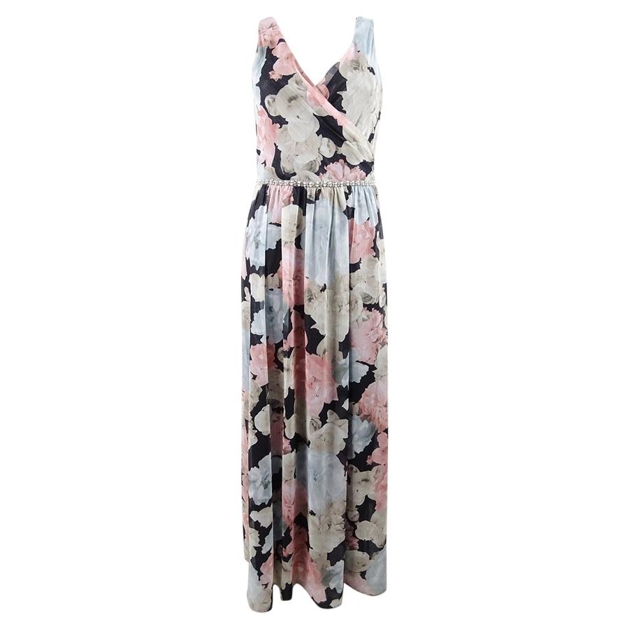 SL Fashions Womens Beaded-Waist Floral Chiffon Gown - Black Multi