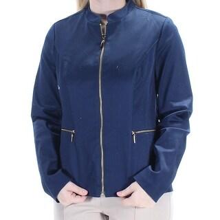 CHARTER CLUB $67 Womens New 1885 Navy Pocketed Zip Up Jacket 4 B+B
