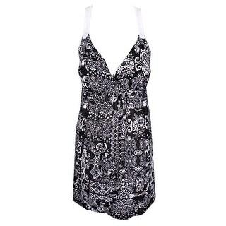 Planet Gold Black White Printed Crochet Inset Dress XL