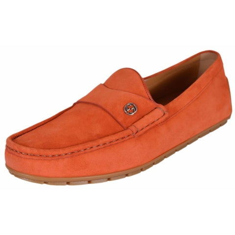 Gucci Men's 386587 Orange Suede Interlocking GG Drivers Loafers Shoes