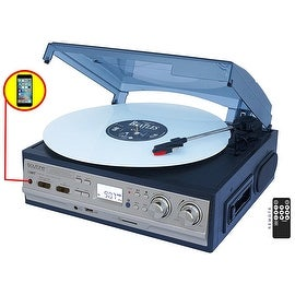 Boytone BT-17DJS-C,6 IN1,3 Speed Stereo Turntable 2 Built in Speakers Digital LCD Display AM/FM Radio + Supports USB/SD/AUX+ Cas