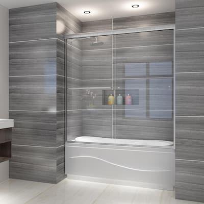 ELEGANT 58.5-60''W x 62''H Semi-Frameless Sliding Shower Door Brushed Nickel