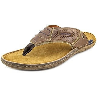 Josef Seibel Paul 39 Men Open Toe Leather Brown Flip Flop Sandal