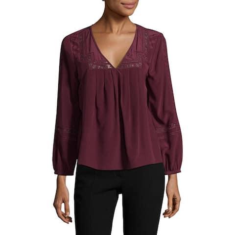 Joie Adabella Long Sleeve Silk Blouse, Burgundy, X-Small
