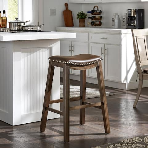 Ordway Faux Leather Saddle Seat Backless Stool by iNSPIRE Q Classic