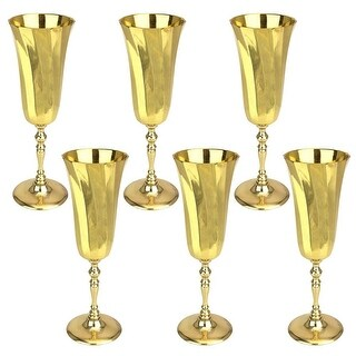 The Royal Chalice of Queen Genevieve Brass Goblets: Set of Six DESIGN TOSCANO