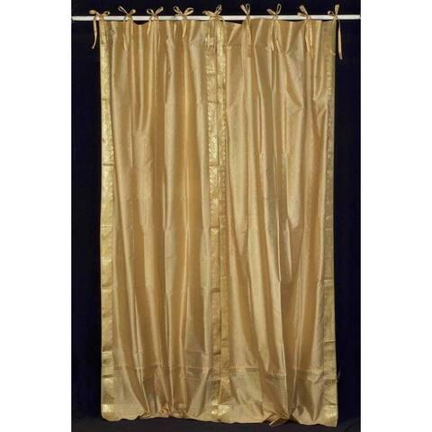 Golden Tie Top Sheer Sari Curtain / Drape / Panel - Piece