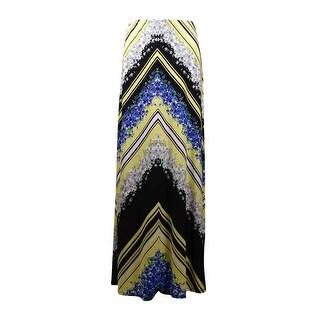 ECI New York Women's Floral Chevron Maxi Jersey Skirt