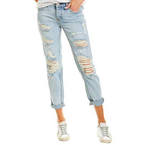 One Teaspoon Awesome Baggies Blue Hart Relaxed Straight Leg
