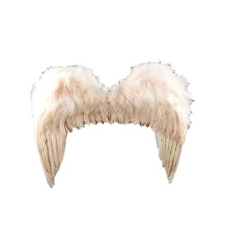 """19"""" Ivory Glittering Feather Accent Angel Wings Costume Accessory"""