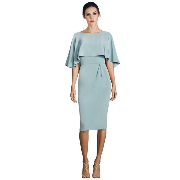 Shop Theia Cape Popover Sheath Cocktail Dress - 4 - Free Shipping ...