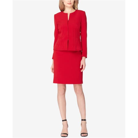 Tahari Womens Solid Pencil Skirt, red, 10