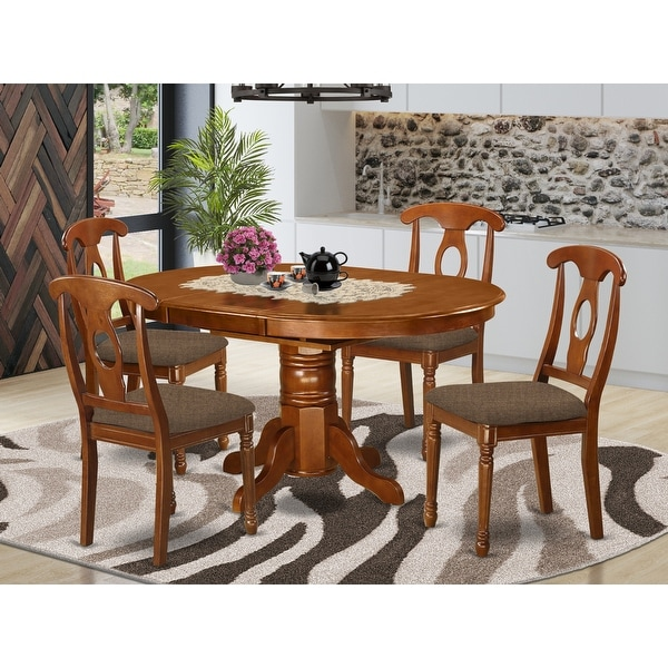 5-piece Dining Table with Leaf and 4 Kitchen Chairs in Saddle Brown Finish. Opens flyout.