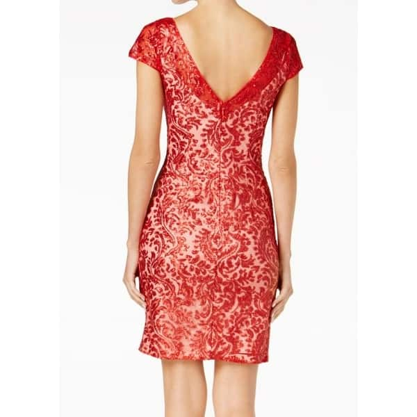 Calvin Klein Fire Red Womens Size 16 Sequin Lace Sheath Dress