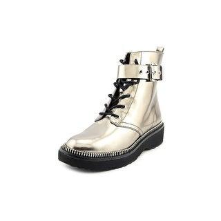 Michael Michael Kors Vivia Bootie Women Round Toe Patent Leather Gold Boot