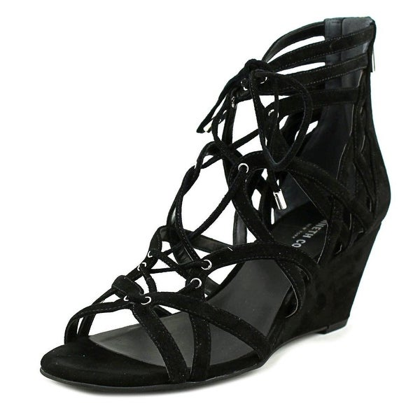 Kenneth Cole NY Dylan Women Open Toe Leather Black Sandals