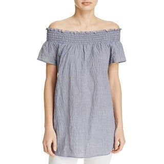 MICHAEL Michael Kors Womens Casual Top Checkered Off-The-Shoulder