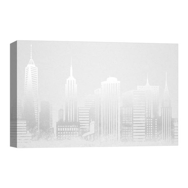 """PTM Images 9-124791 PTM Canvas Collection 8"""" x 10"""" - """"Manhattan in Gray"""" Giclee New York Art Print on Canvas"""