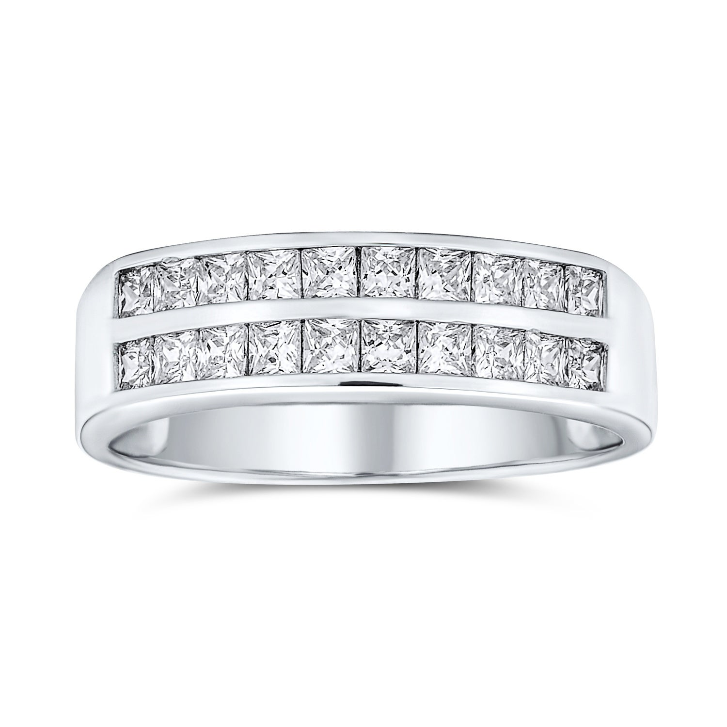 Channel Set Silver Wedding Band Ring Channel Setting Stackable Band 925 Sterling Silver with Round CZ Diamond Simulants Full Eternity Band