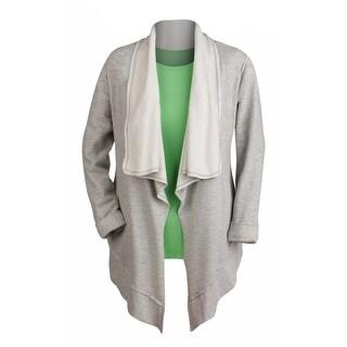 Women's Heather Grey Fleece Jacket - Open Front Waterfall Cardigan