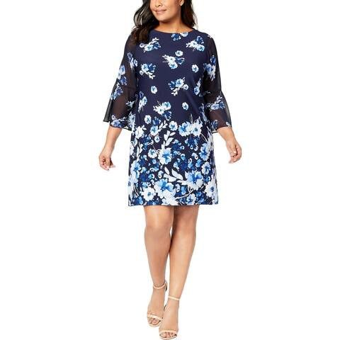 Jessica Howard Womens Plus Special Occasion Dress Bell Sleeves Above Knee Mini