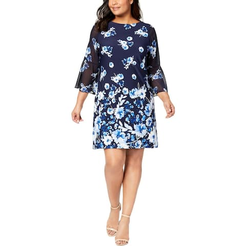 95a6168d819a Jessica Howard Womens Plus Special Occasion Dress Bell Sleeves Above Knee  Mini