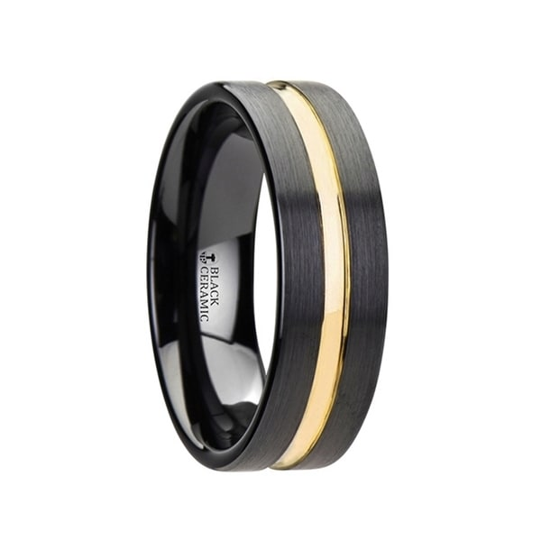 Engagement & Wedding Precise Stainless Steel Striped 8mm Black Plated Brushed/ Wedding Ring Band Size 12.50